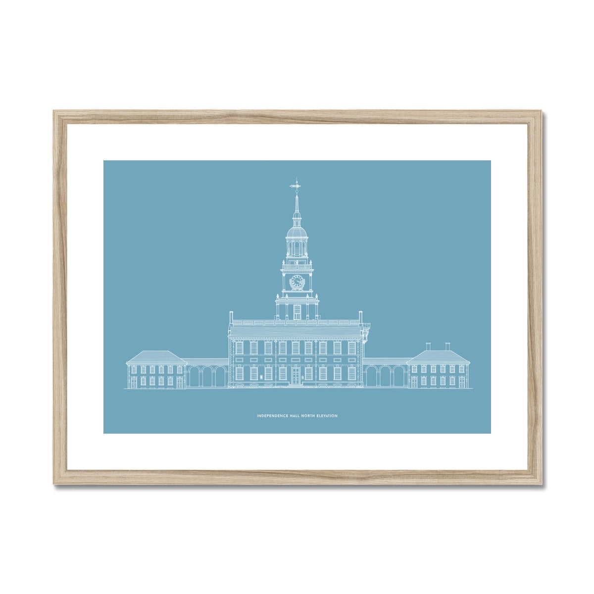 Independence Hall - North Elevation - Blue -  Framed & Mounted Print