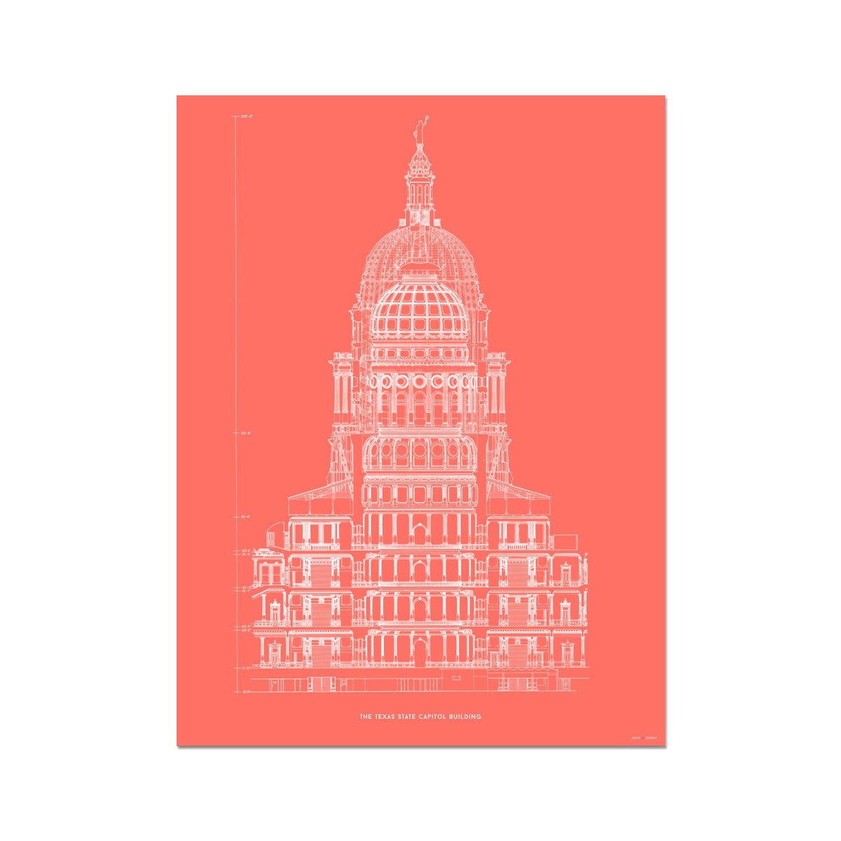 The Texas State Capitol Building - Rotunda Cross Section - Red -  Etching Paper Print