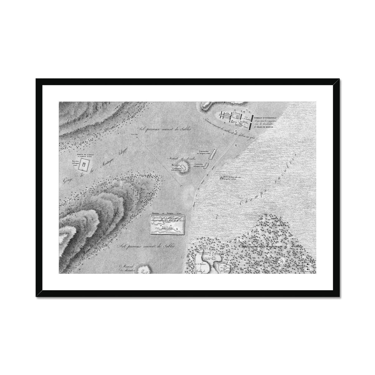 Topographic Map - Memnonium - Thebes Egypt -  Framed & Mounted Print