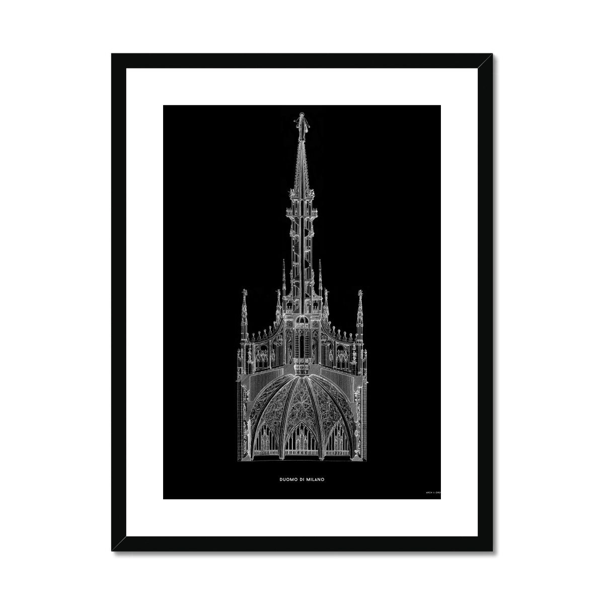 The Milan Cathedral - Detail Cross Section - Black -  Framed & Mounted Print