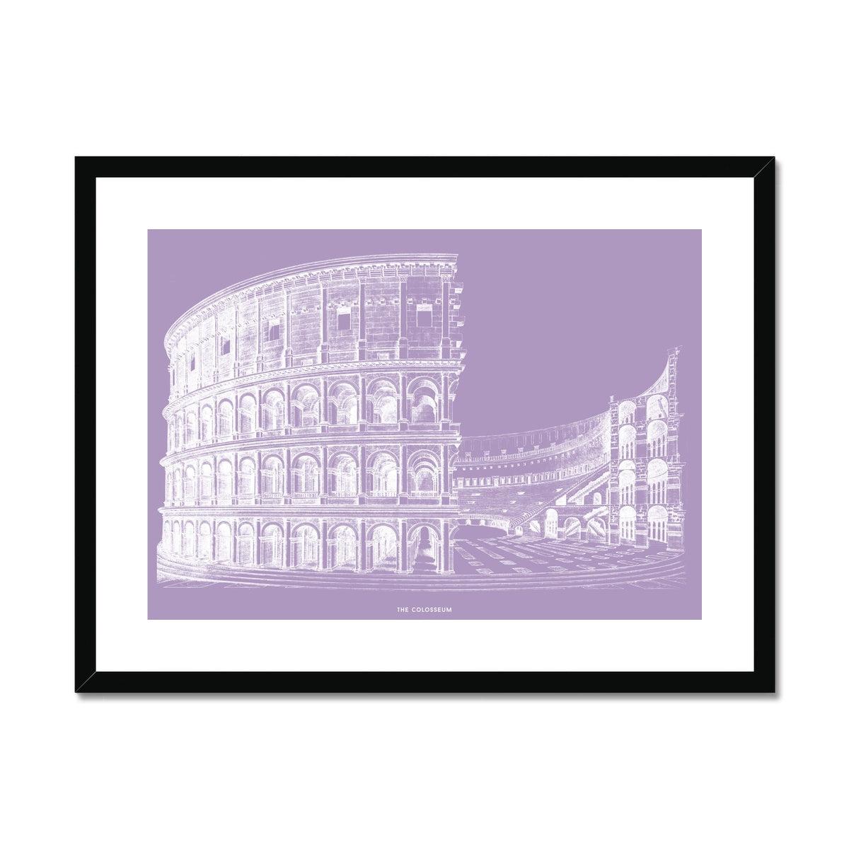The Colosseum - Alternative Cross Section - Lavender -  Framed & Mounted Print