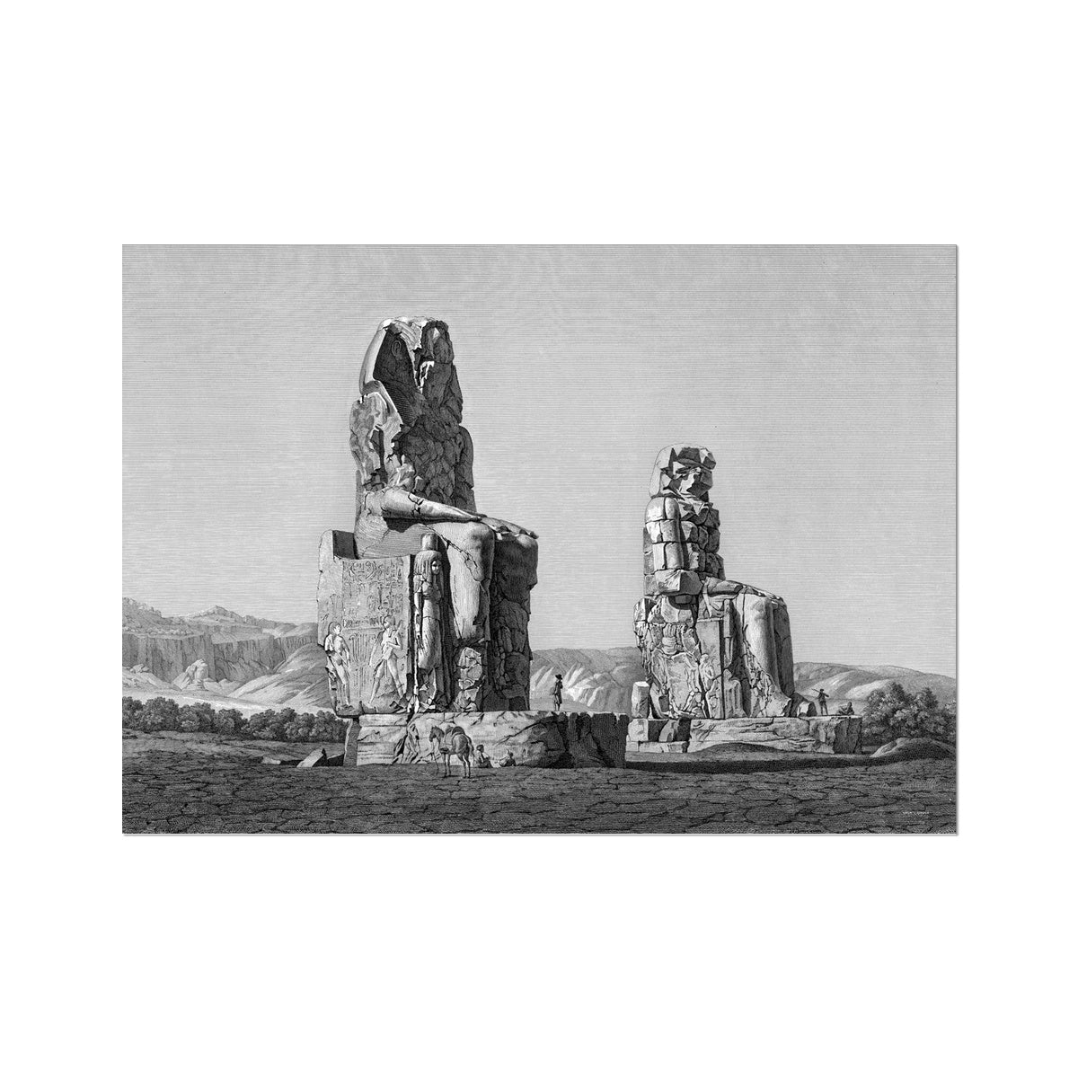 Colossi of Memnon View - Memnonium - Thebes Egypt -  Etching Paper Print