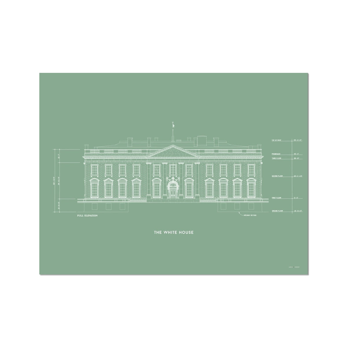 The White House North Elevation - Green -  Etching Paper Print