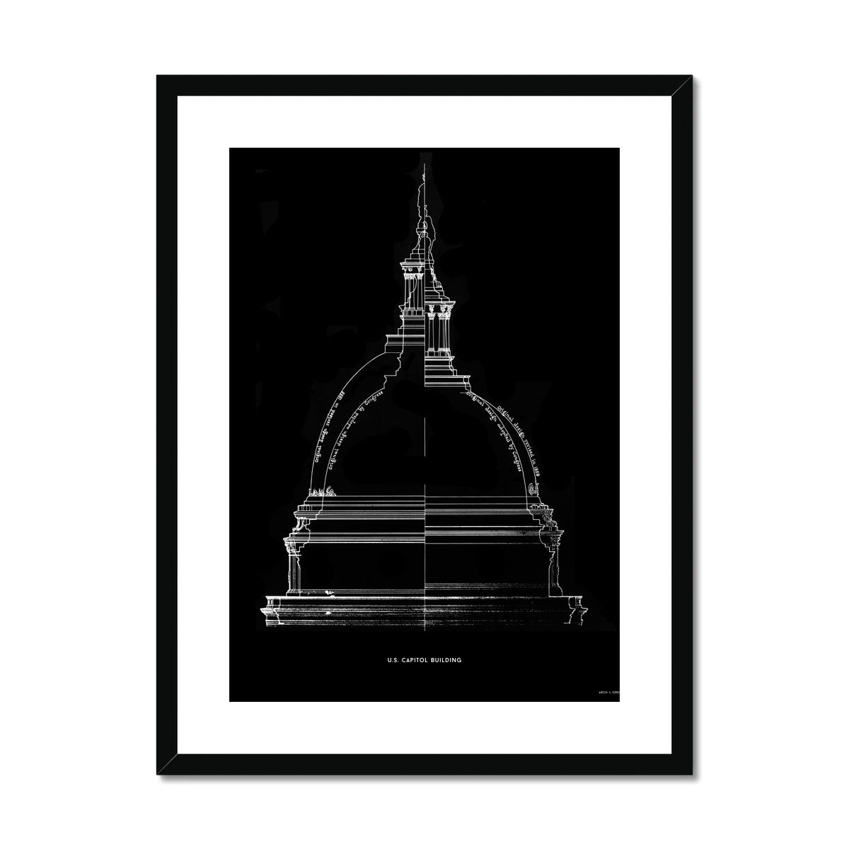 The U.S. Capitol Building - 1851 Dome Comparison - Black -  Framed & Mounted Print