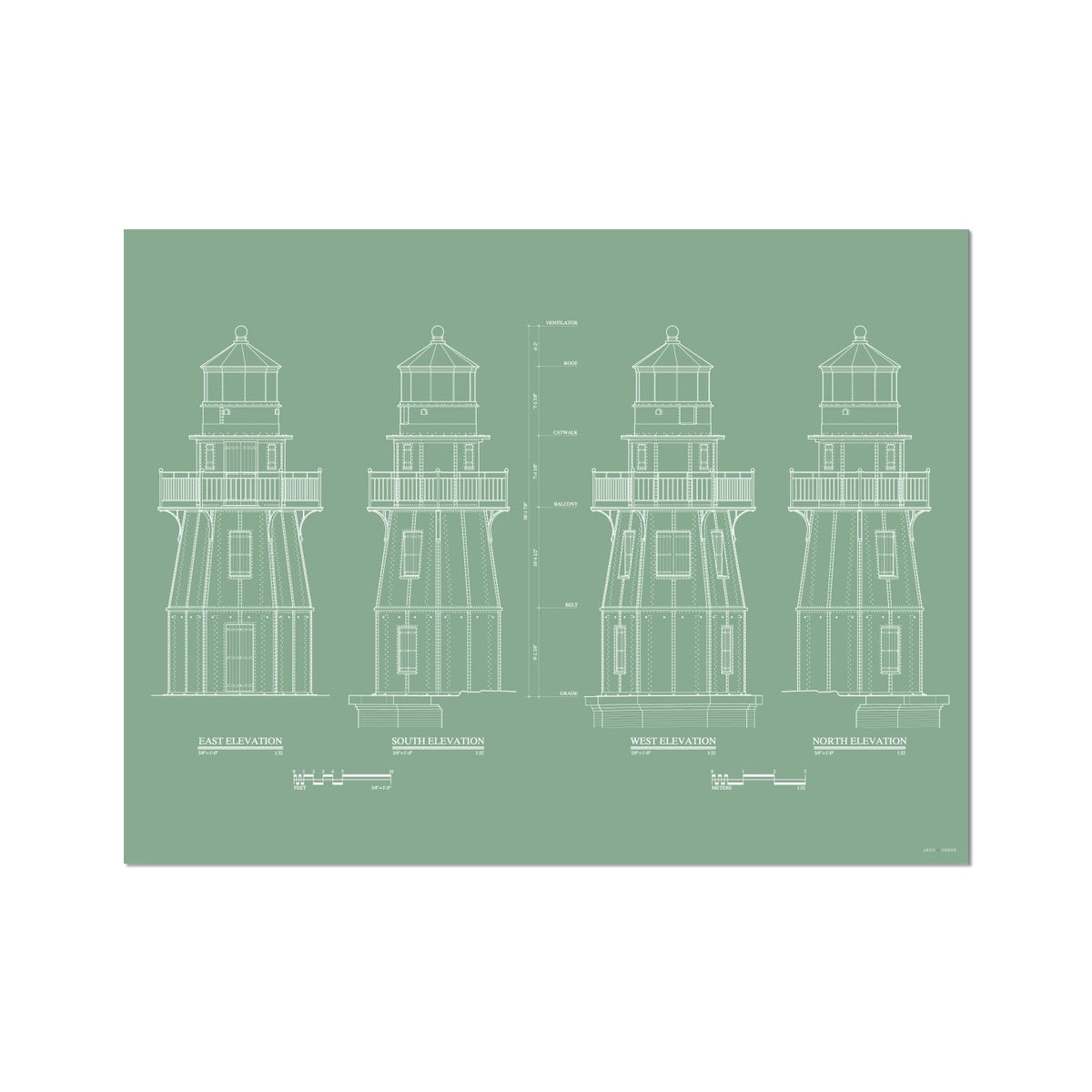 Fort Jefferson - Tortugas Harbor Lighthouse - Elevations - Green -  Etching Paper Print