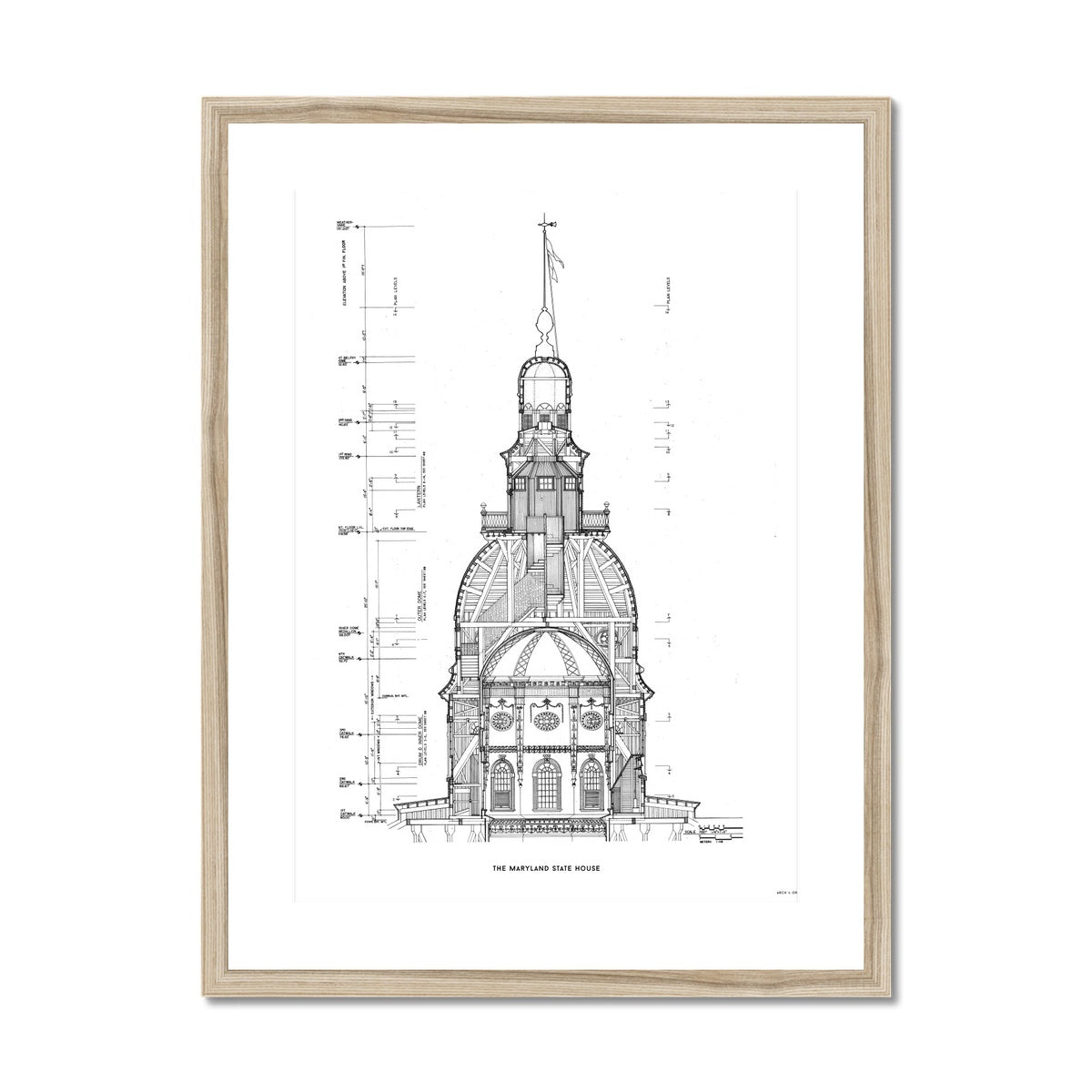 The Maryland State House - Dome West Elevation Cross Section - White -  Framed & Mounted Print