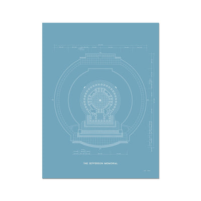 Jefferson Memorial Main Level Plan - Blue -  Etching Paper Print
