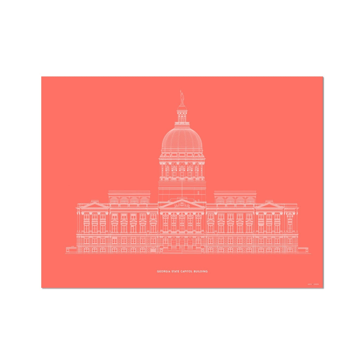 The Georgia State Capitol Building - West Elevation - Red -  Etching Paper Print