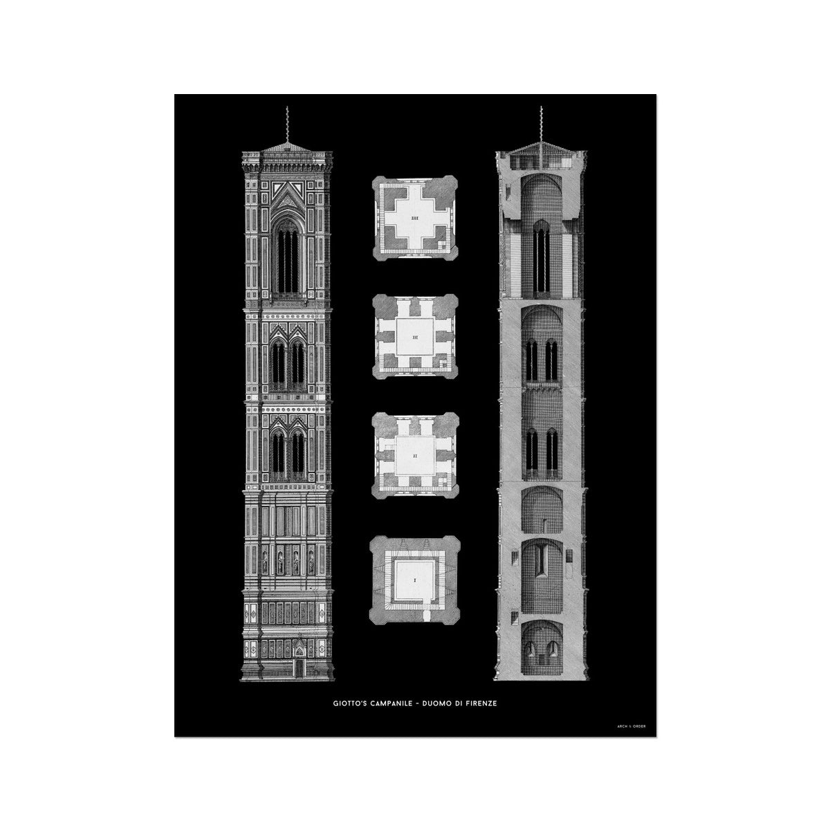 Giotto's Campanile - Cross Section - Black -  Etching Paper Print