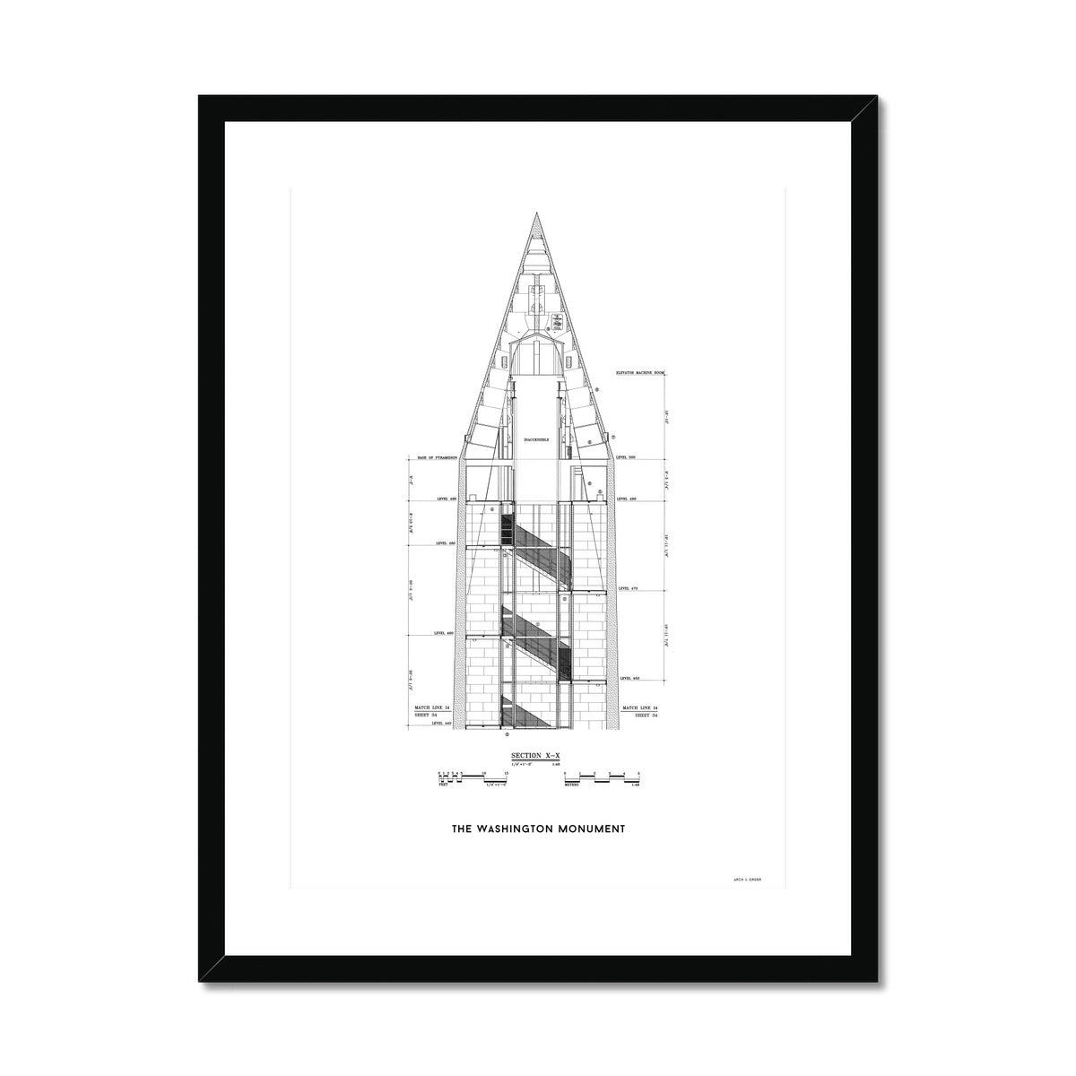 The Washington Monument Top Cross Section - White -  Framed & Mounted Print
