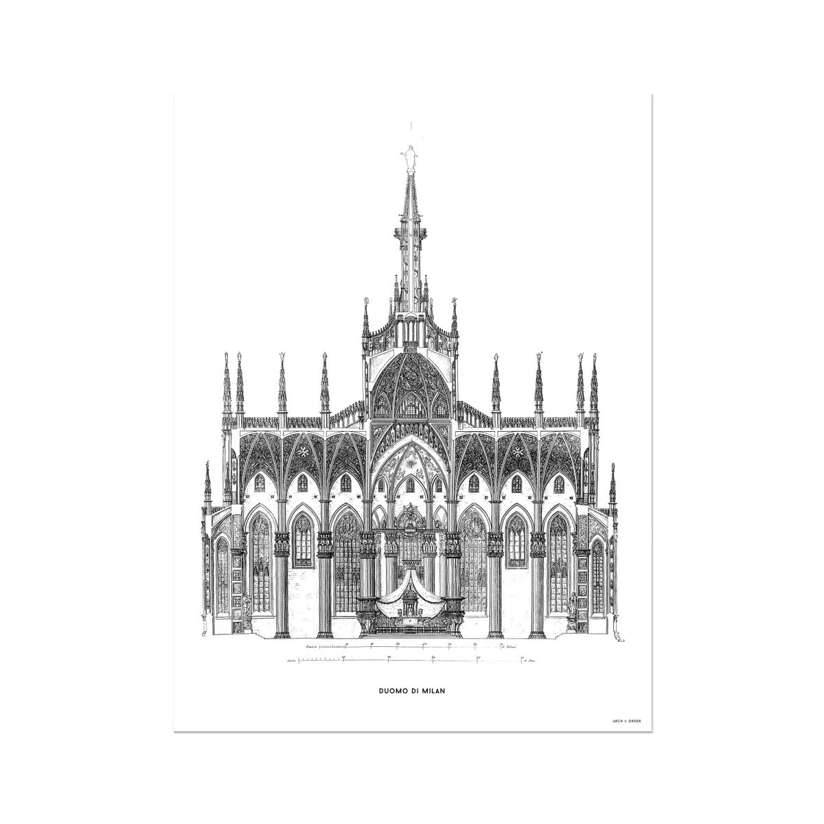 The Milan Cathedral - Primary Elevation Cross Section - White -  Etching Paper Print