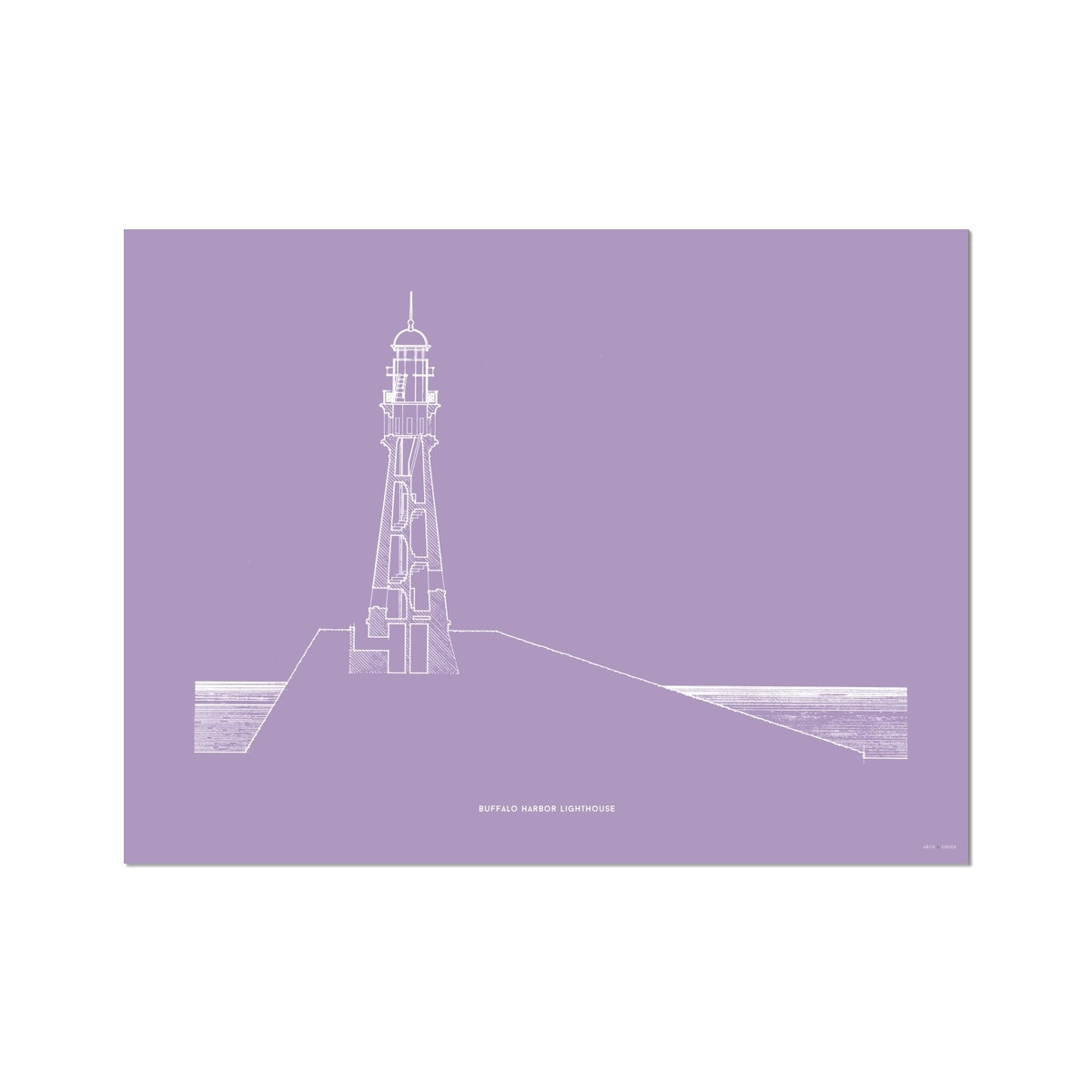 Buffalo Harbor Lighthouse - Cross Section - Lavender -  Etching Paper Print