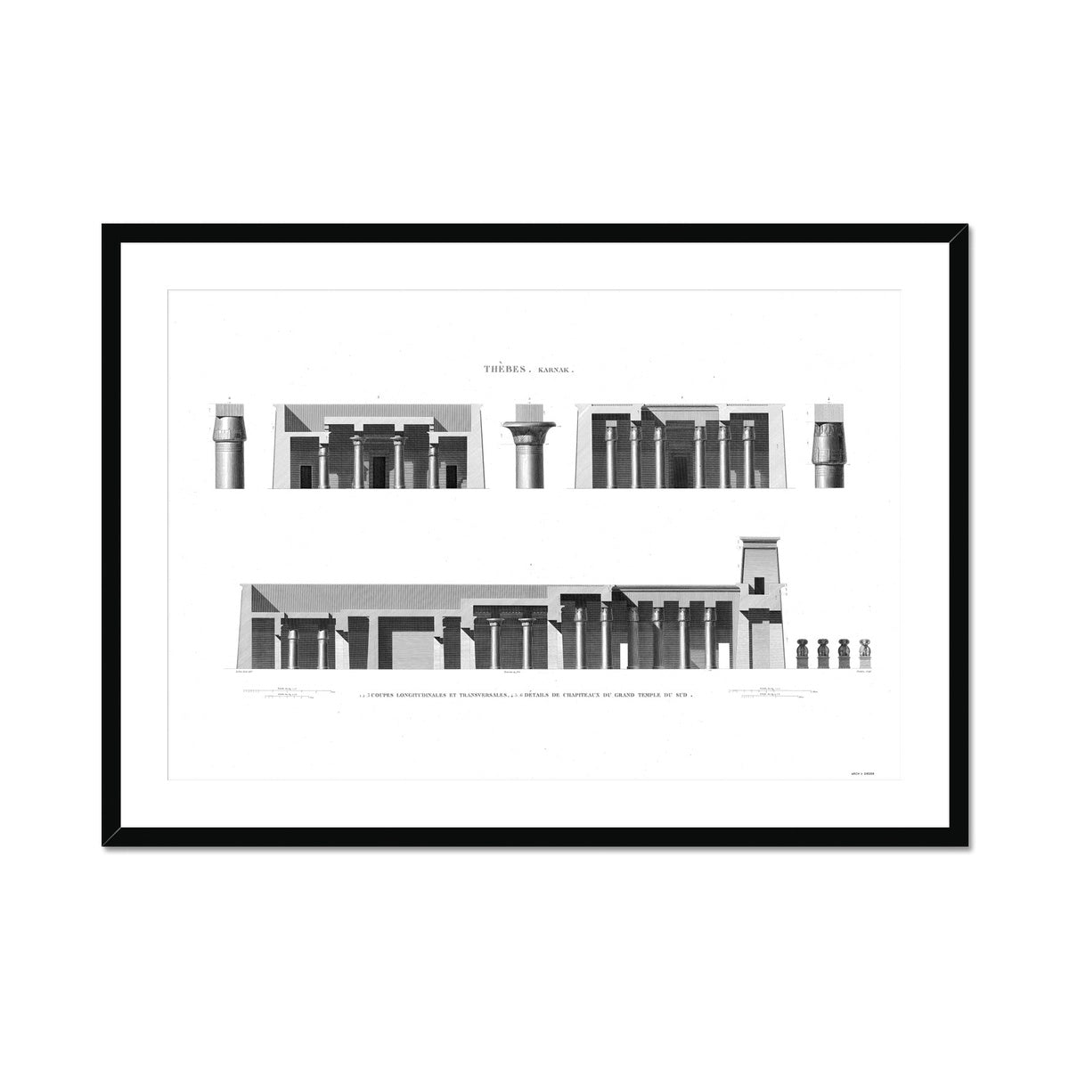 Cross Section of the South Temple - Karnak - Thebes Egypt -  Framed & Mounted Print