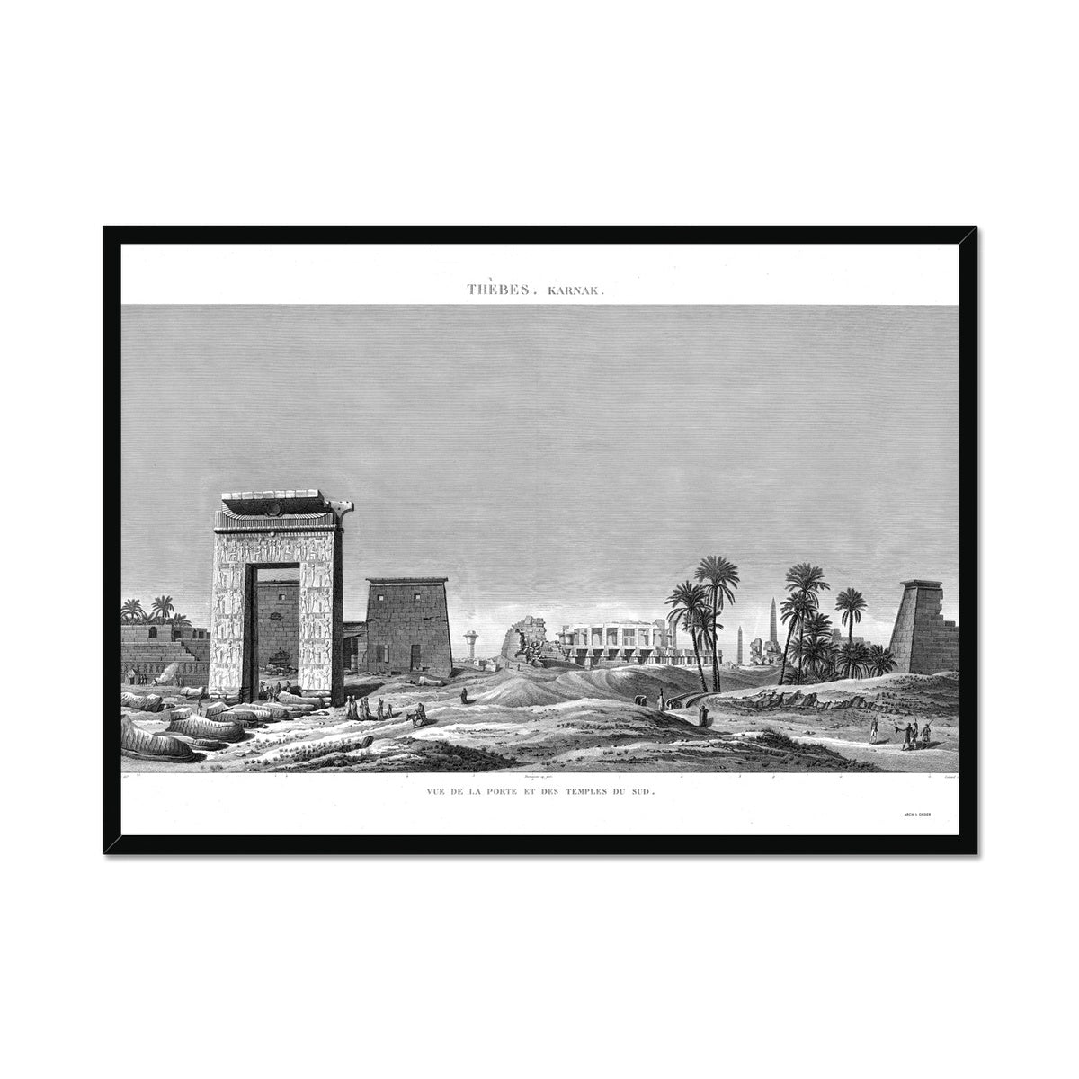 View of the Southern Gates and Temples - Karnak - Thebes Egypt -  Framed Print