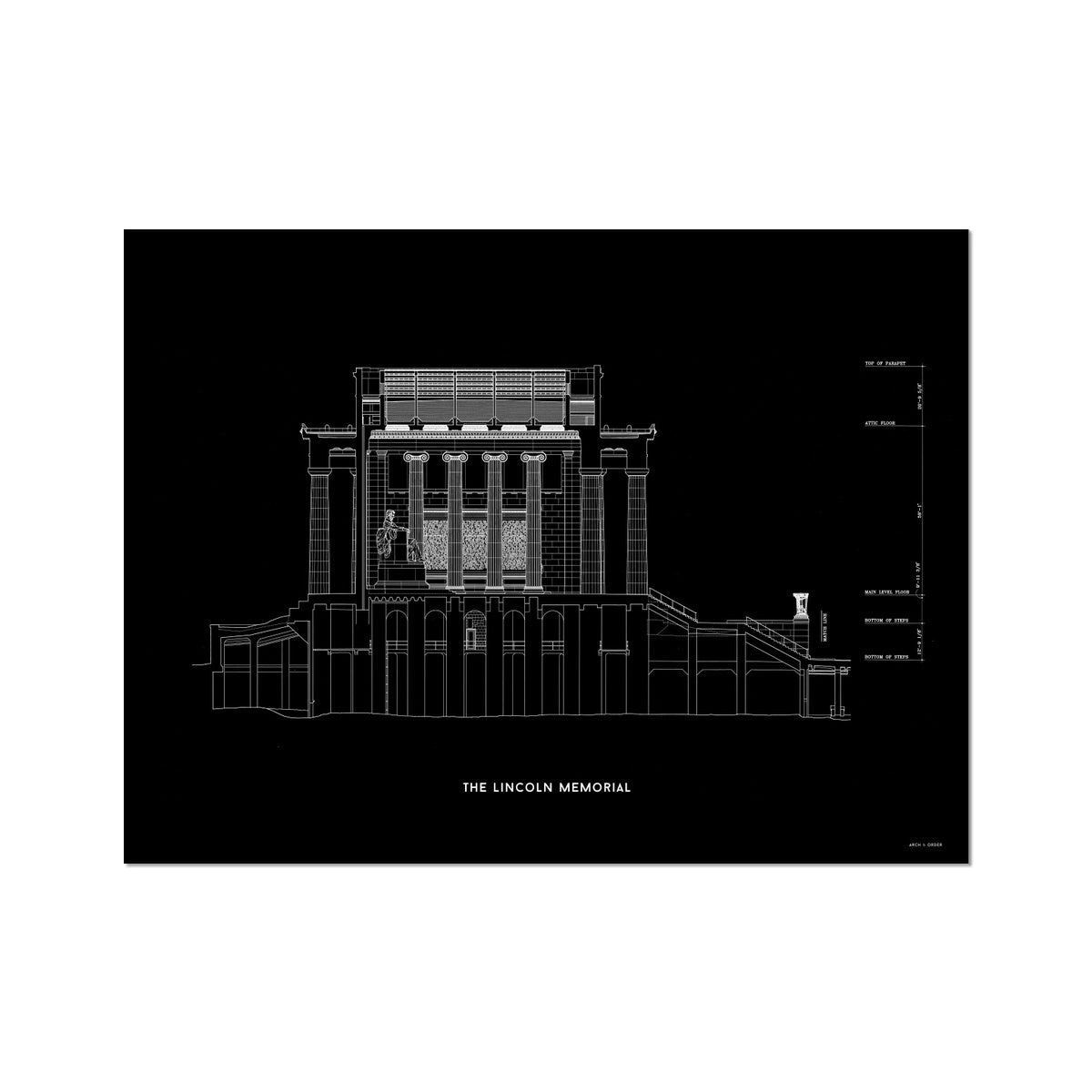 The Lincoln Memorial North Elevation Cross Section - Black -  Etching Paper Print