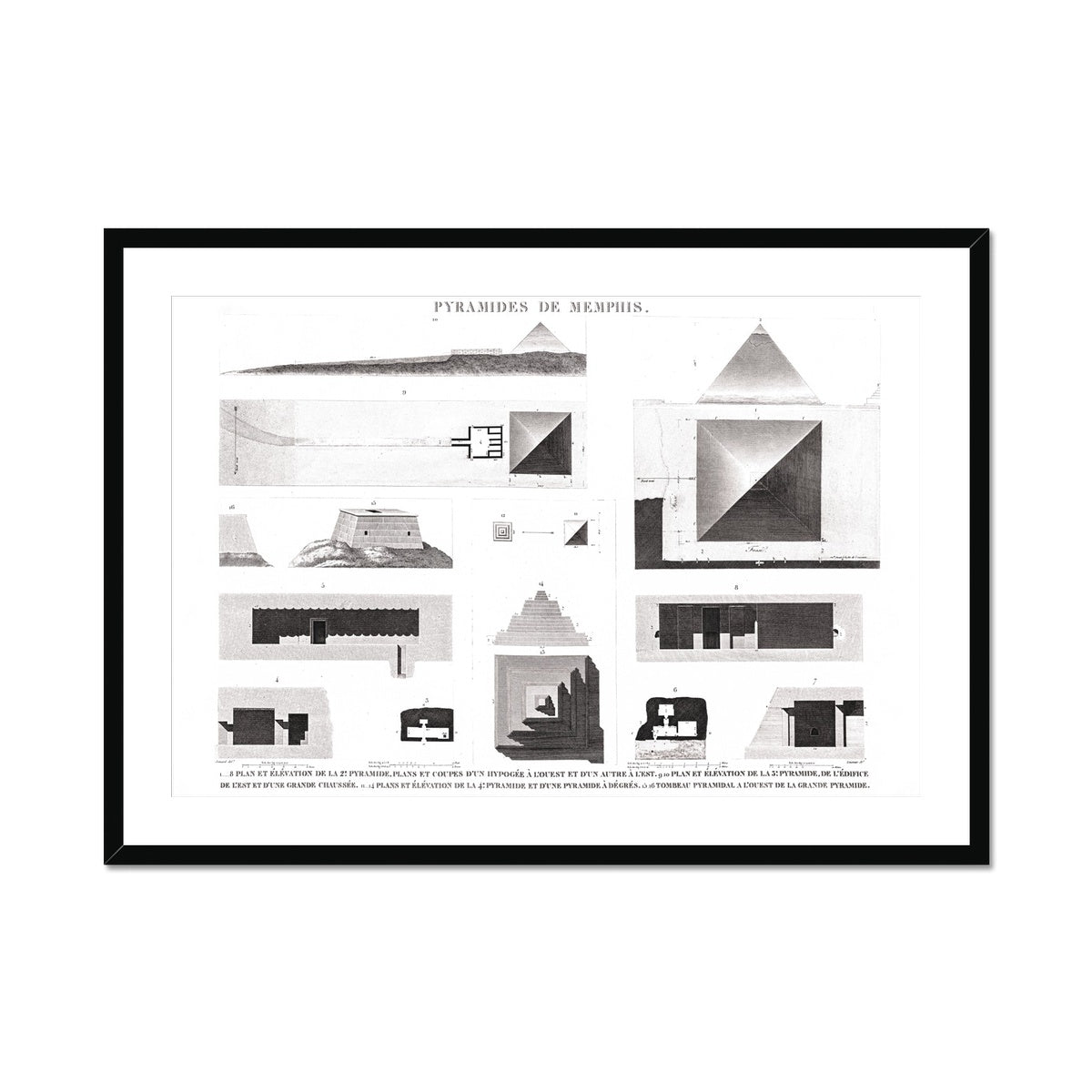 Details of the Pyramids of Giza - Memphis Egypt -  Framed & Mounted Print