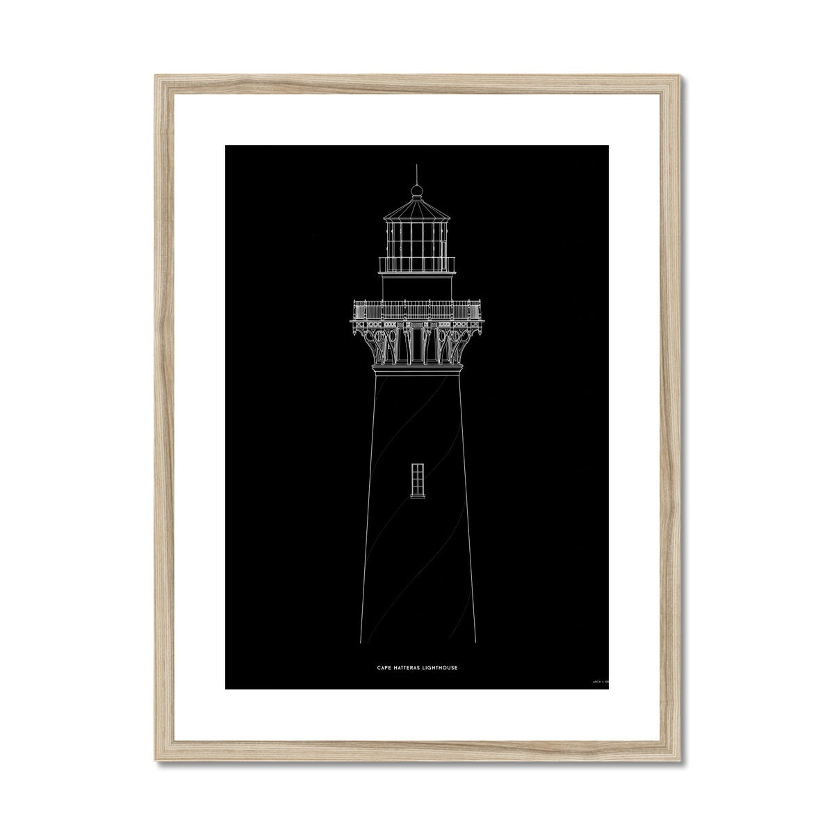Cape Hatteras Lighthouse - North Elevation Detail - Black -  Framed & Mounted Print