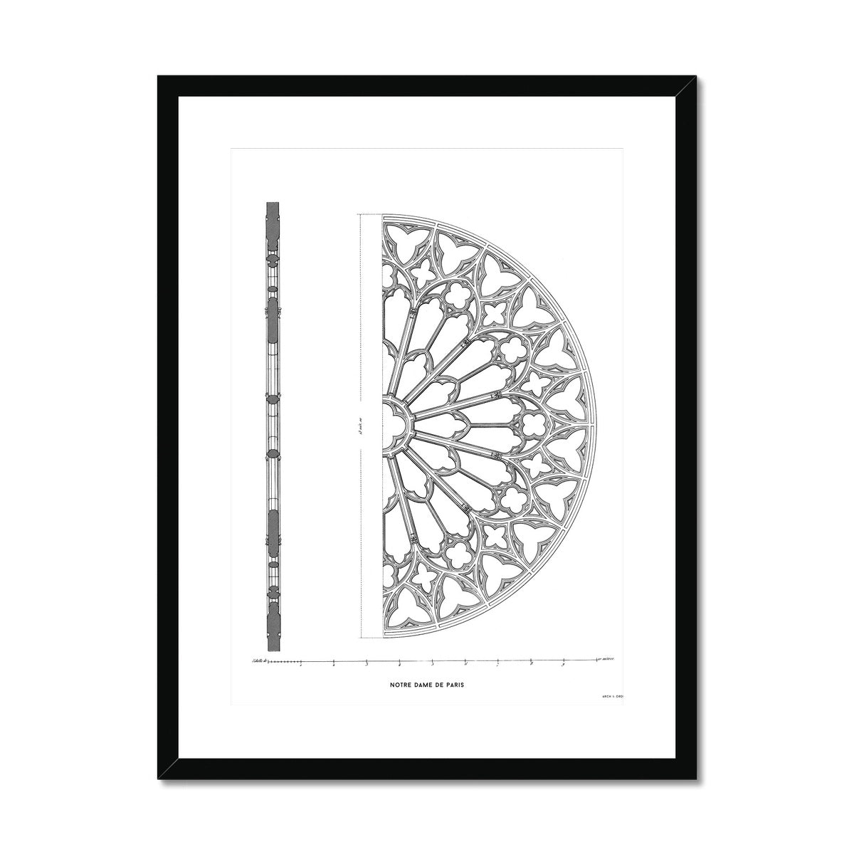 Notre Dame de Paris - South Rose Window Detail - White -  Framed & Mounted Print