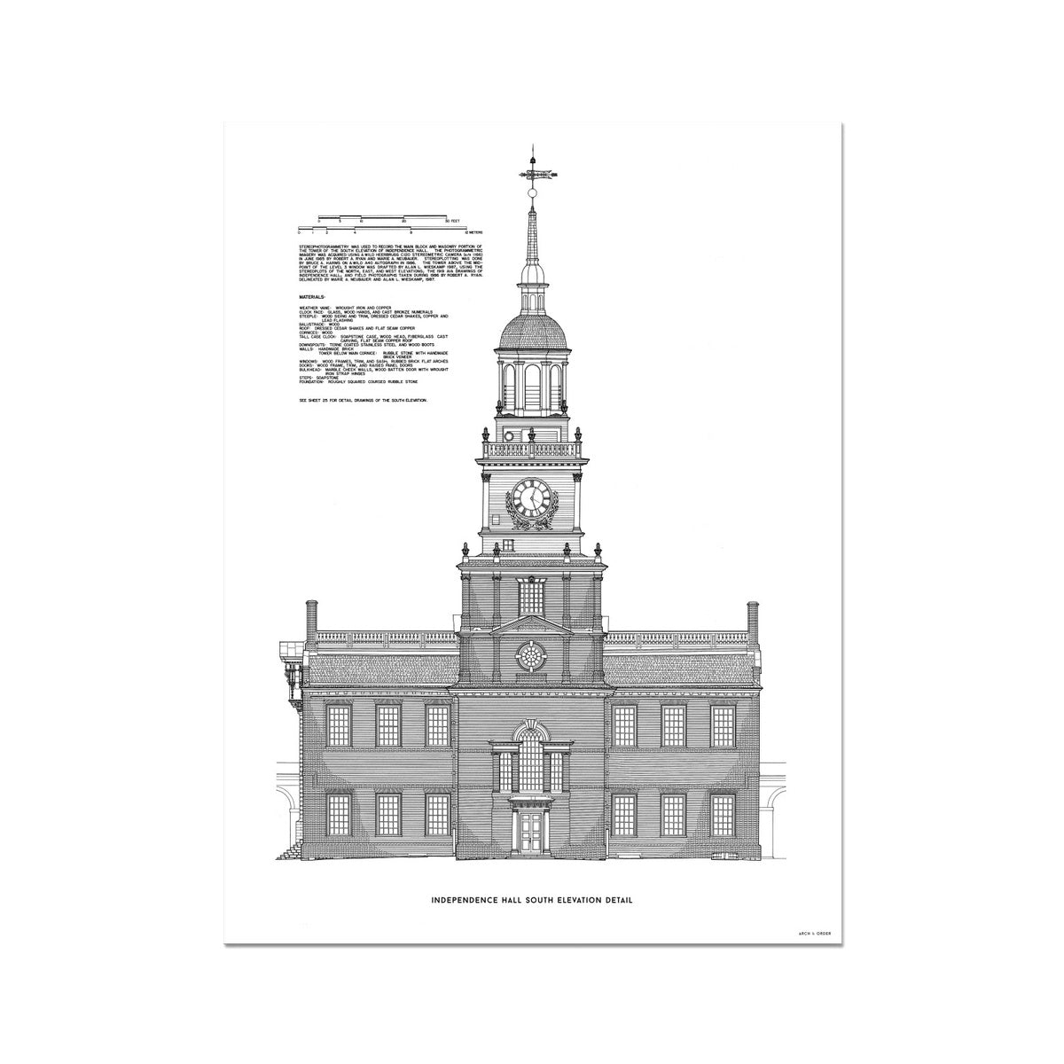 Independence Hall - South Elevation Detail - White -  Etching Paper Print