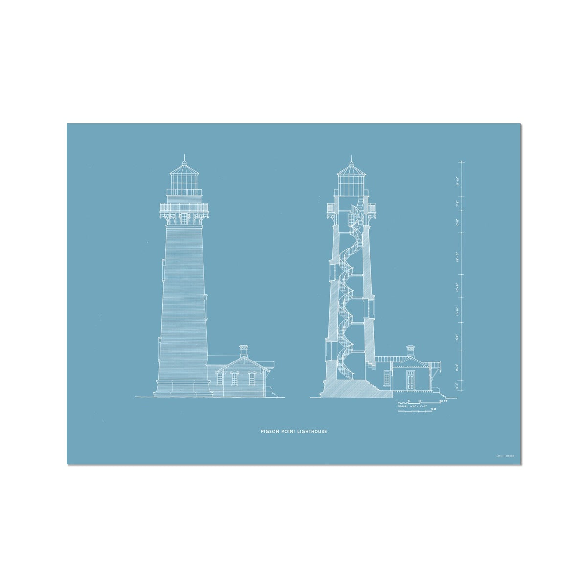Pigeon Point Lighthouse - Southeast Elevation and Cross Section - Blue - German Etching Print