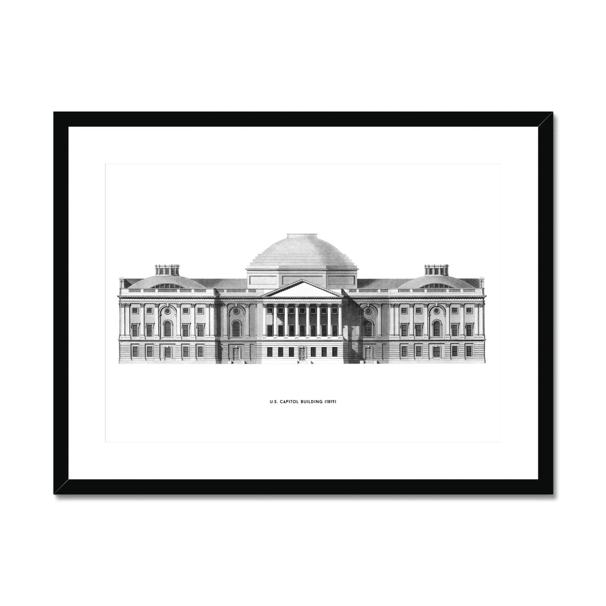 The U.S. Capitol Building - 1823 Elevation - White -  Framed & Mounted Print