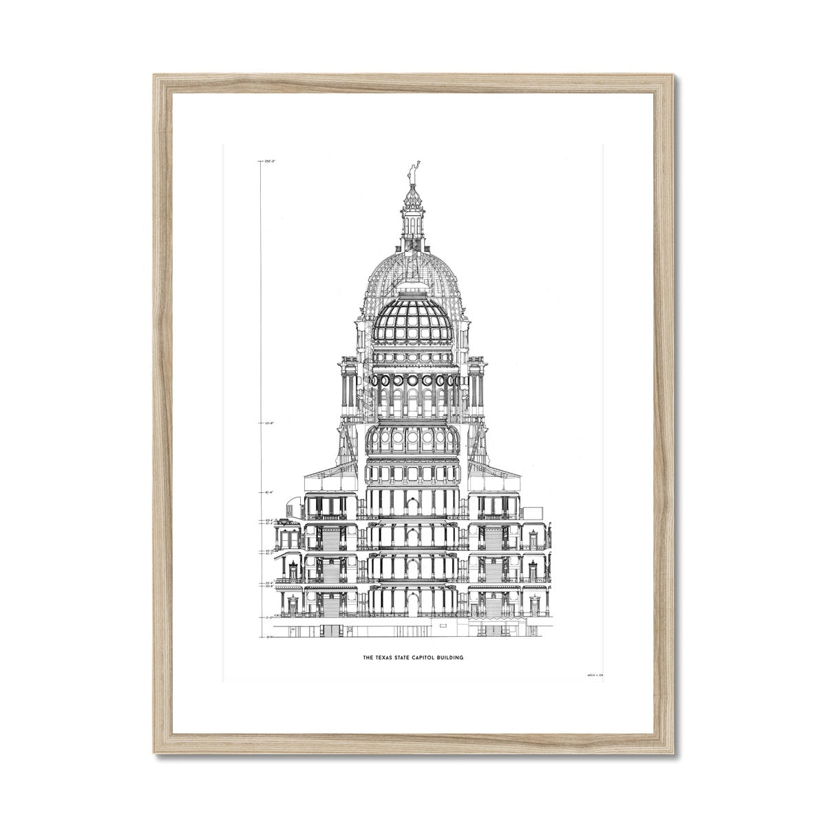 The Texas State Capitol Building - Rotunda Cross Section - White -  Framed & Mounted Print