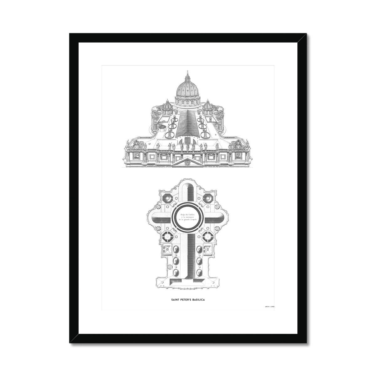Saint Peter's Basilica - Elevated View - White -  Framed & Mounted Print