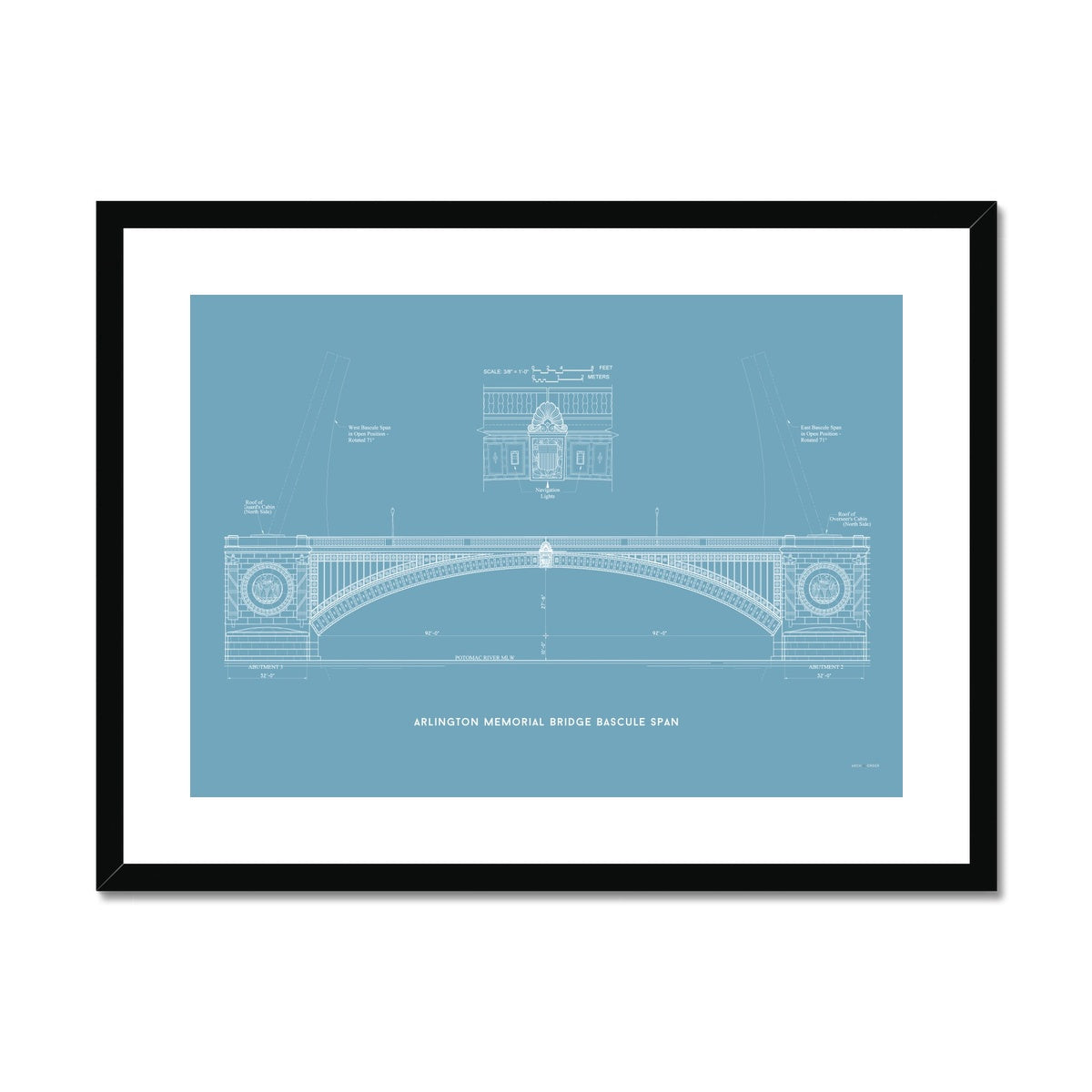 The Arlington Memorial Bridge - Bascule Span - Blue -  Framed & Mounted Print