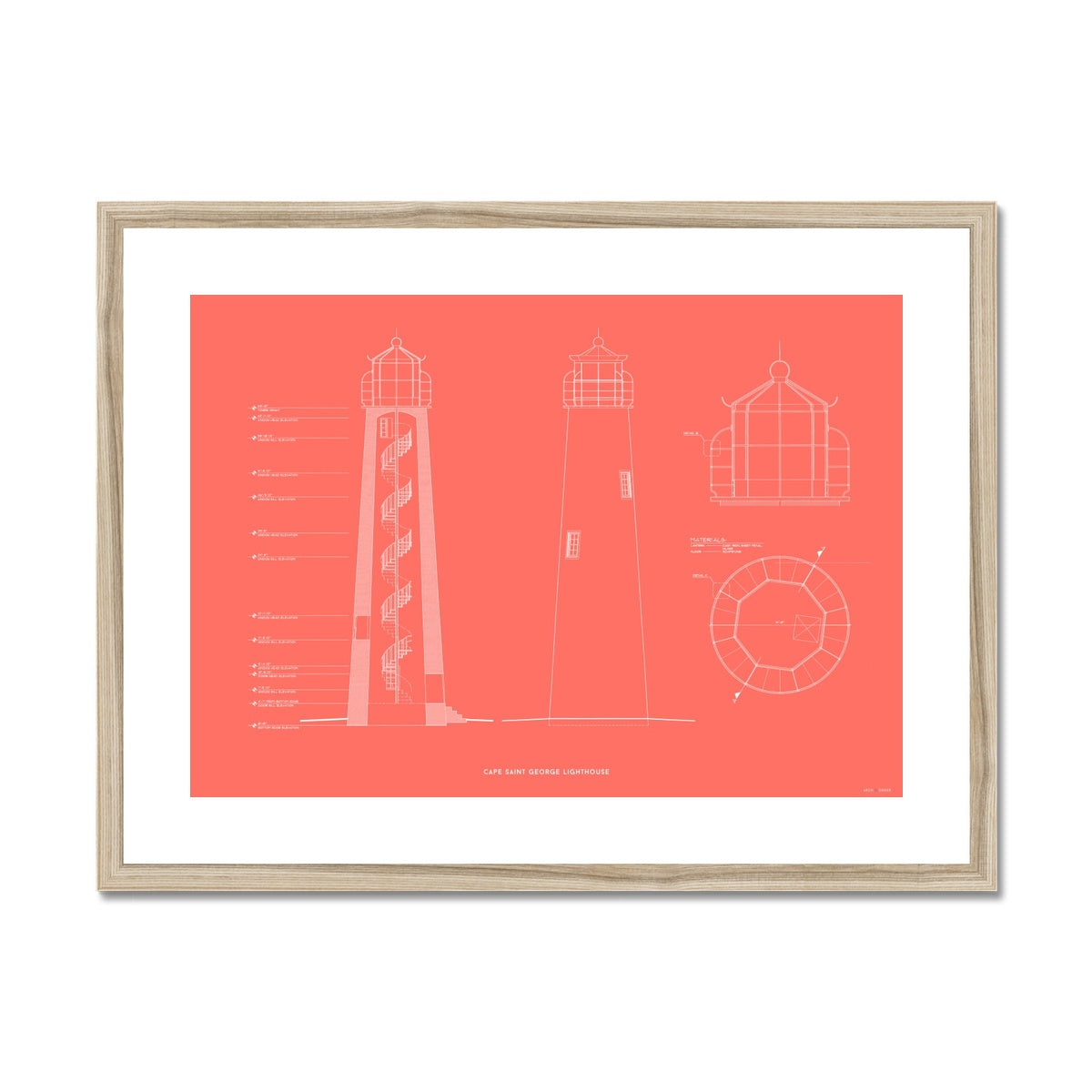 Fort Jefferson - Tortugas Harbor Lighthouse - Cross Section - Red -  Framed & Mounted Print
