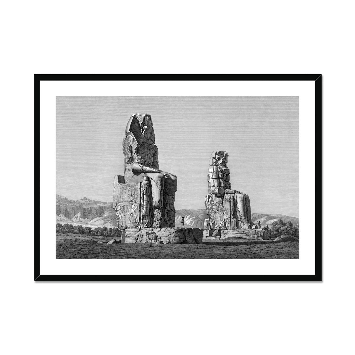 Colossi of Memnon View - Memnonium - Thebes Egypt -  Framed & Mounted Print