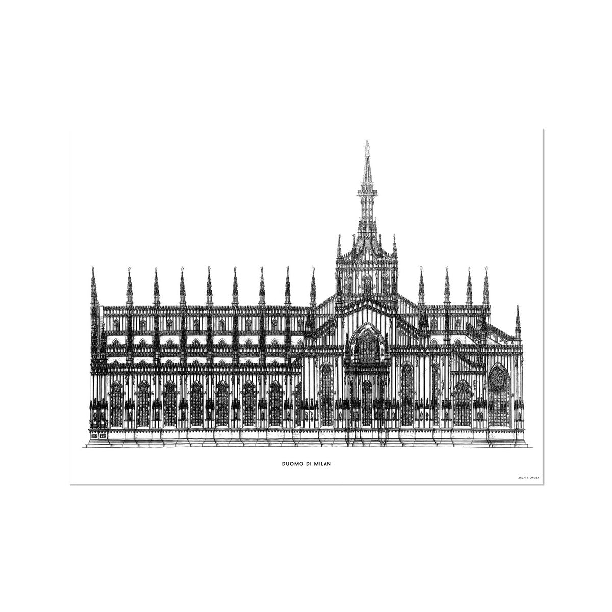 The Milan Cathedral - Side Elevation - White -  Etching Paper Print