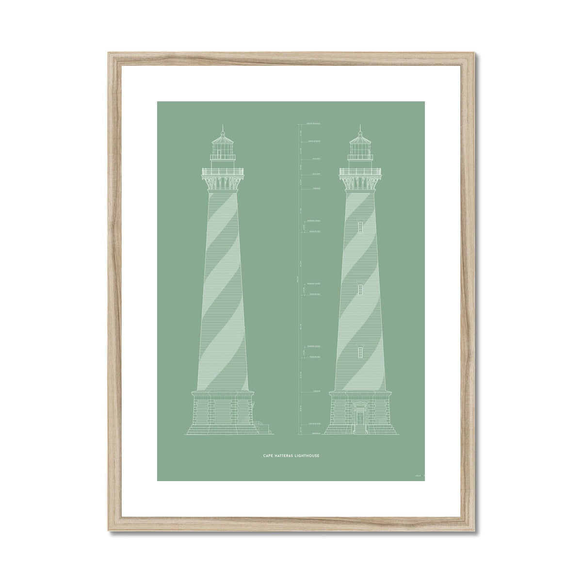 Cape Hatteras Lighthouse - North and East Elevations - Green -  Framed & Mounted Print