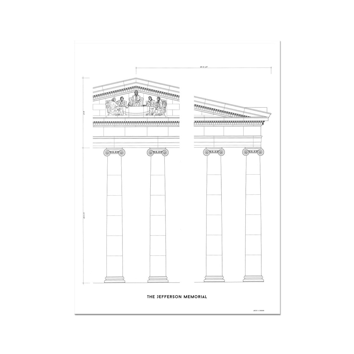 The Jefferson Memorial Portico Detail - White -  Etching Paper Print