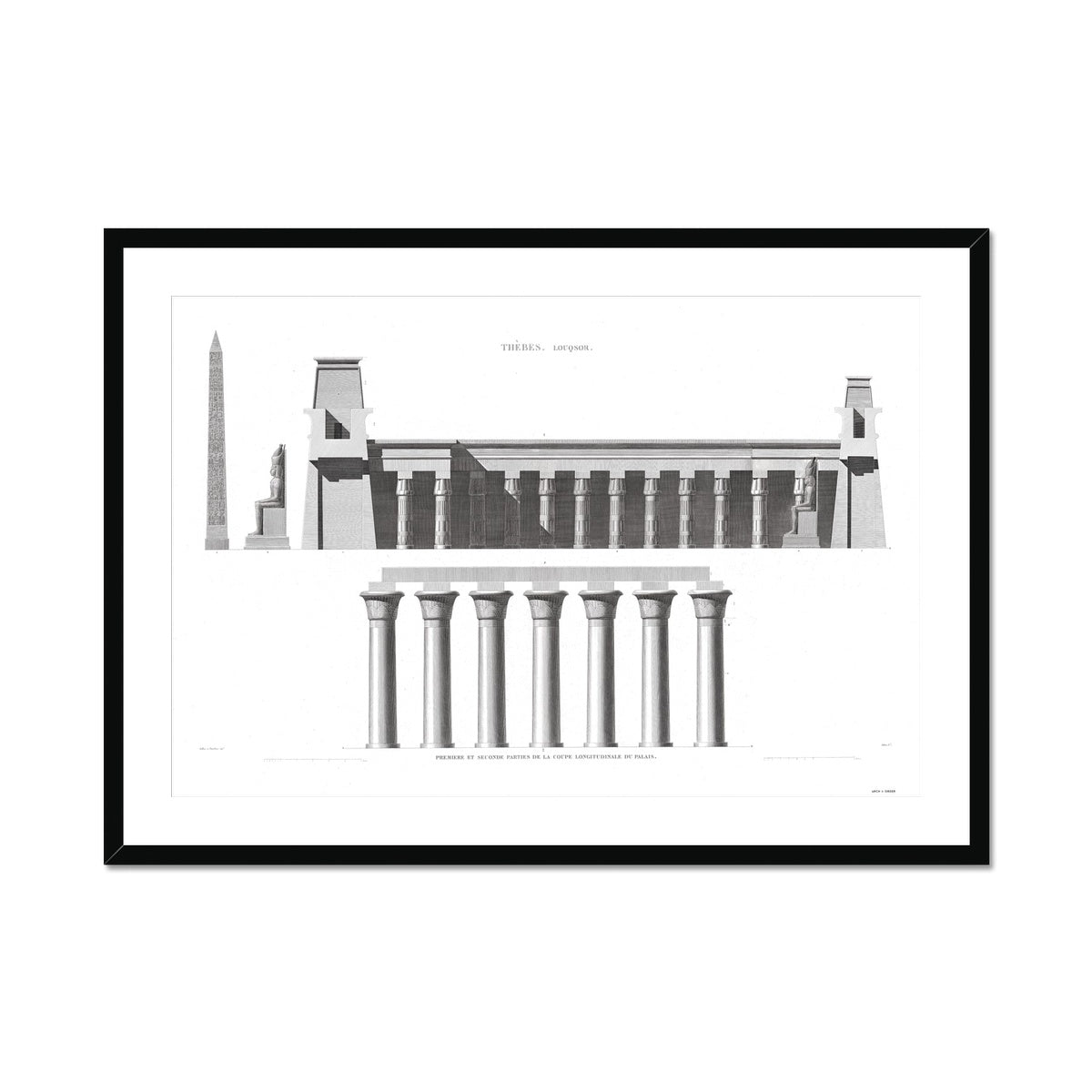 Cross Section of the Palace - Luxor - Thebes Egypt -  Framed & Mounted Print