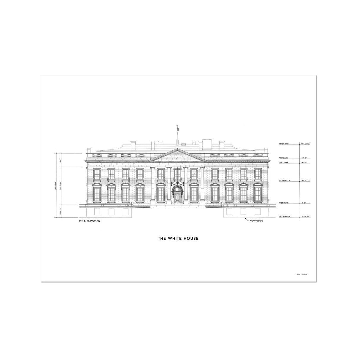 The White House North Elevation - White -  Etching Paper Print