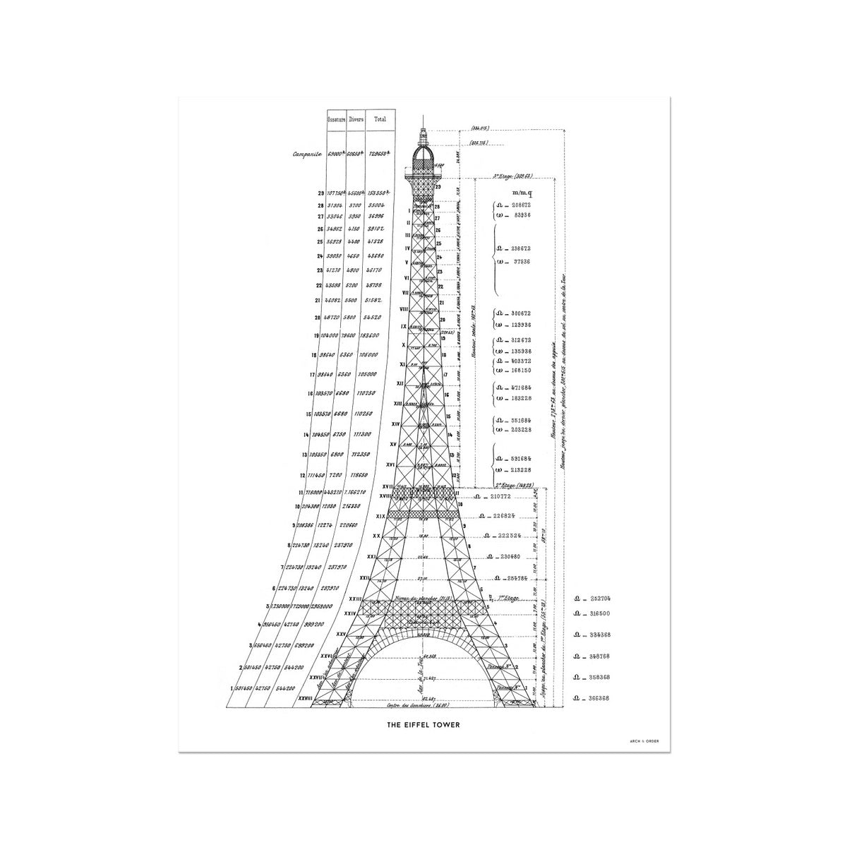 The Eiffel Tower - Structural Calculations - White -  Etching Paper Print