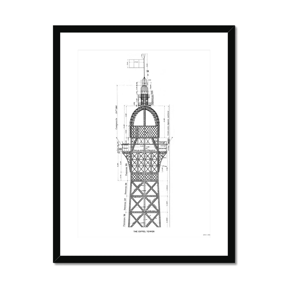 The Eiffel Tower - Top Cross Section - White -  Framed & Mounted Print