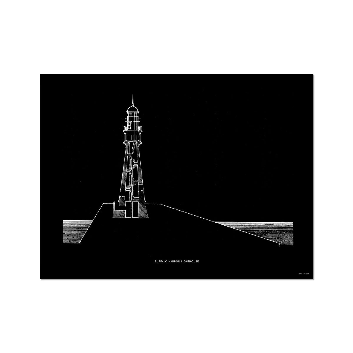 Buffalo Harbor Lighthouse - Cross Section - Black -  Etching Paper Print