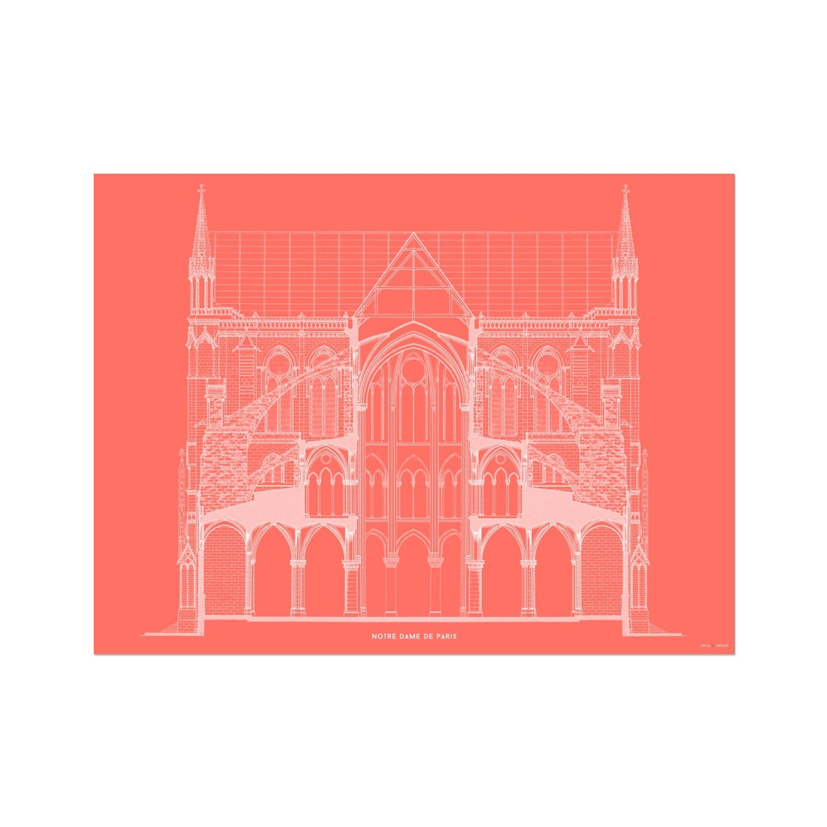 Notre Dame de Paris - Full Cross Section - Red -  Etching Paper Print