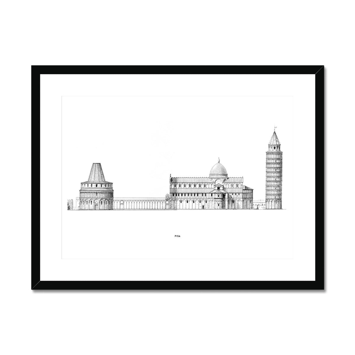 Pisa - Primary Elevation - White -  Framed & Mounted Print
