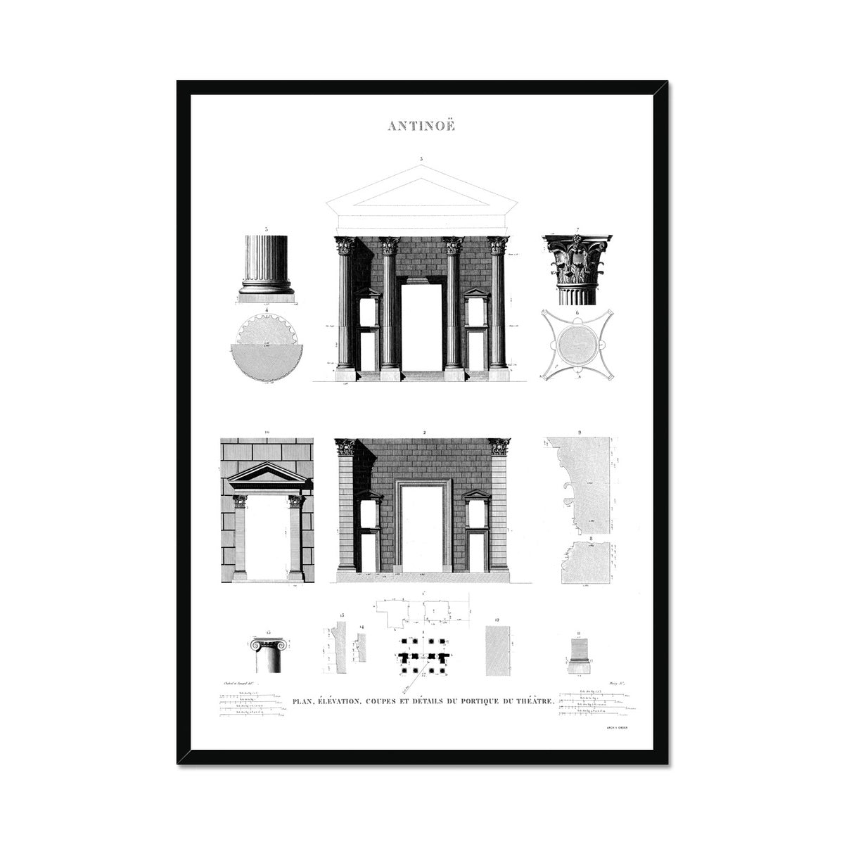 Theater Elevation - Antinoöpolis Egypt -  Framed Print