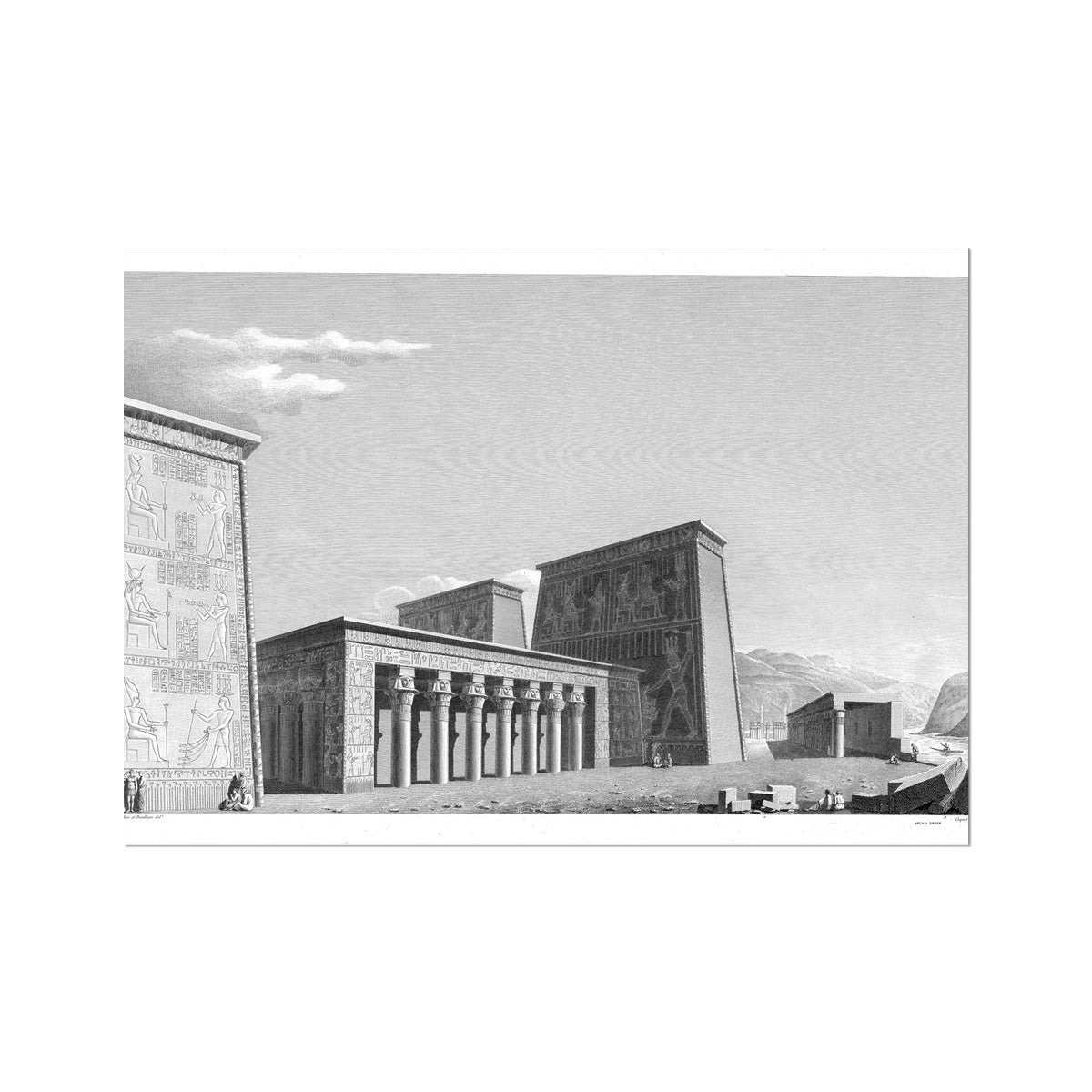 The Temple of Isis Perspective from the West - Philae Egypt -  Etching Paper Print