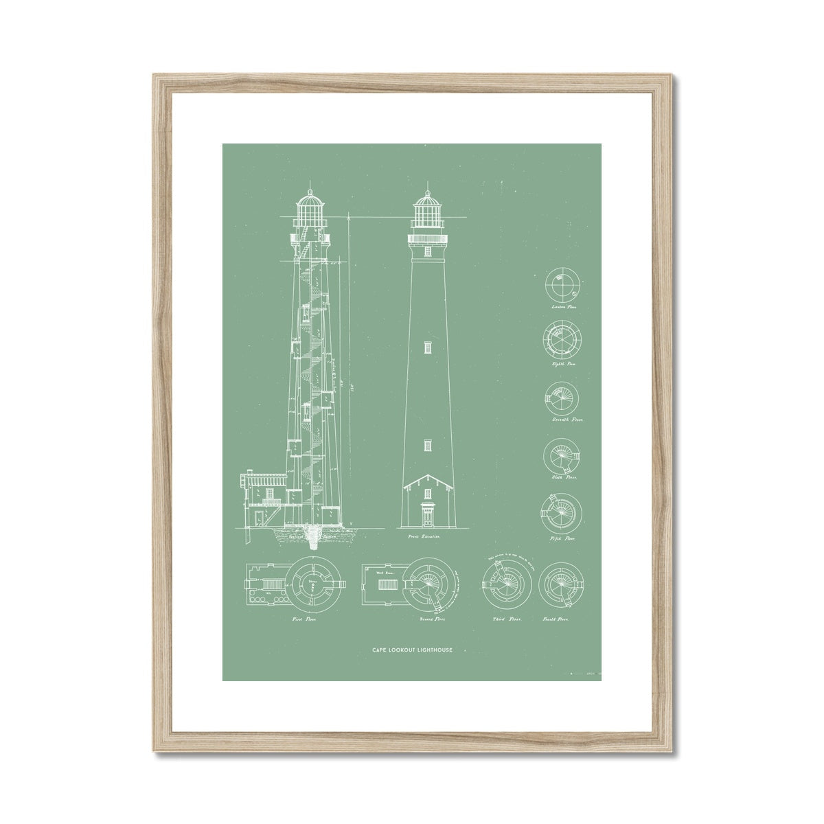 Cape Lookout Lighthouse - Construction Drawings - Green -  Framed & Mounted Print
