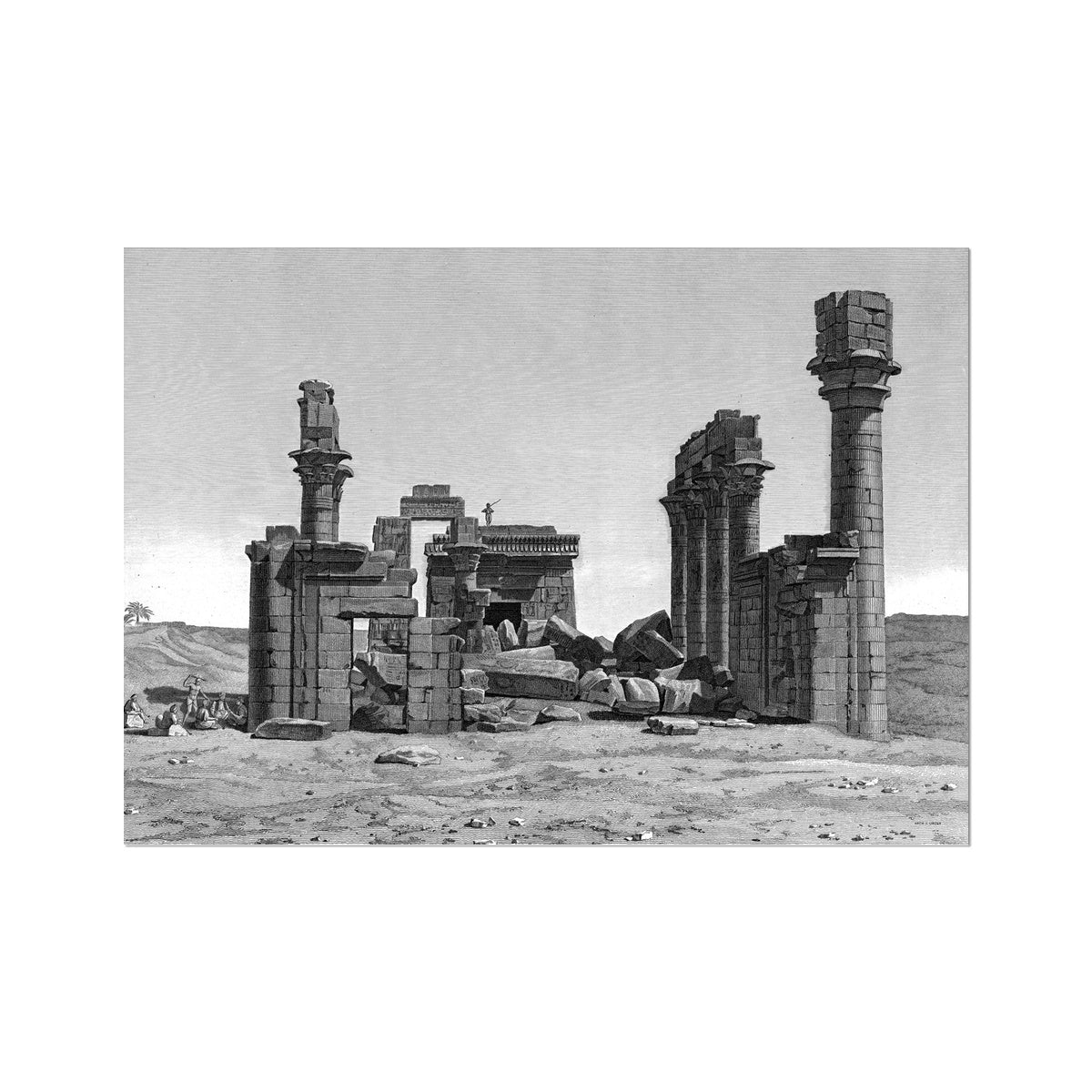 The Temple of Hermonthis Ruins 2 - Armant Egypt -  Etching Paper Print