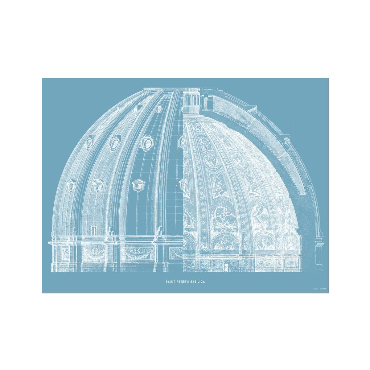 Saint Peter's Basilica - Dome Cross Section - Blue -  Etching Paper Print