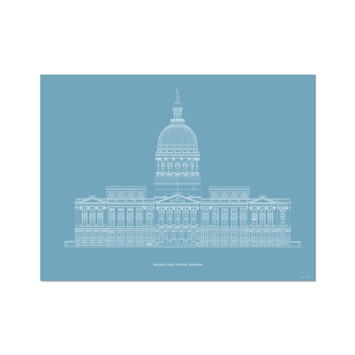 The Georgia State Capitol Building - West Elevation - Blue -  Etching Paper Print