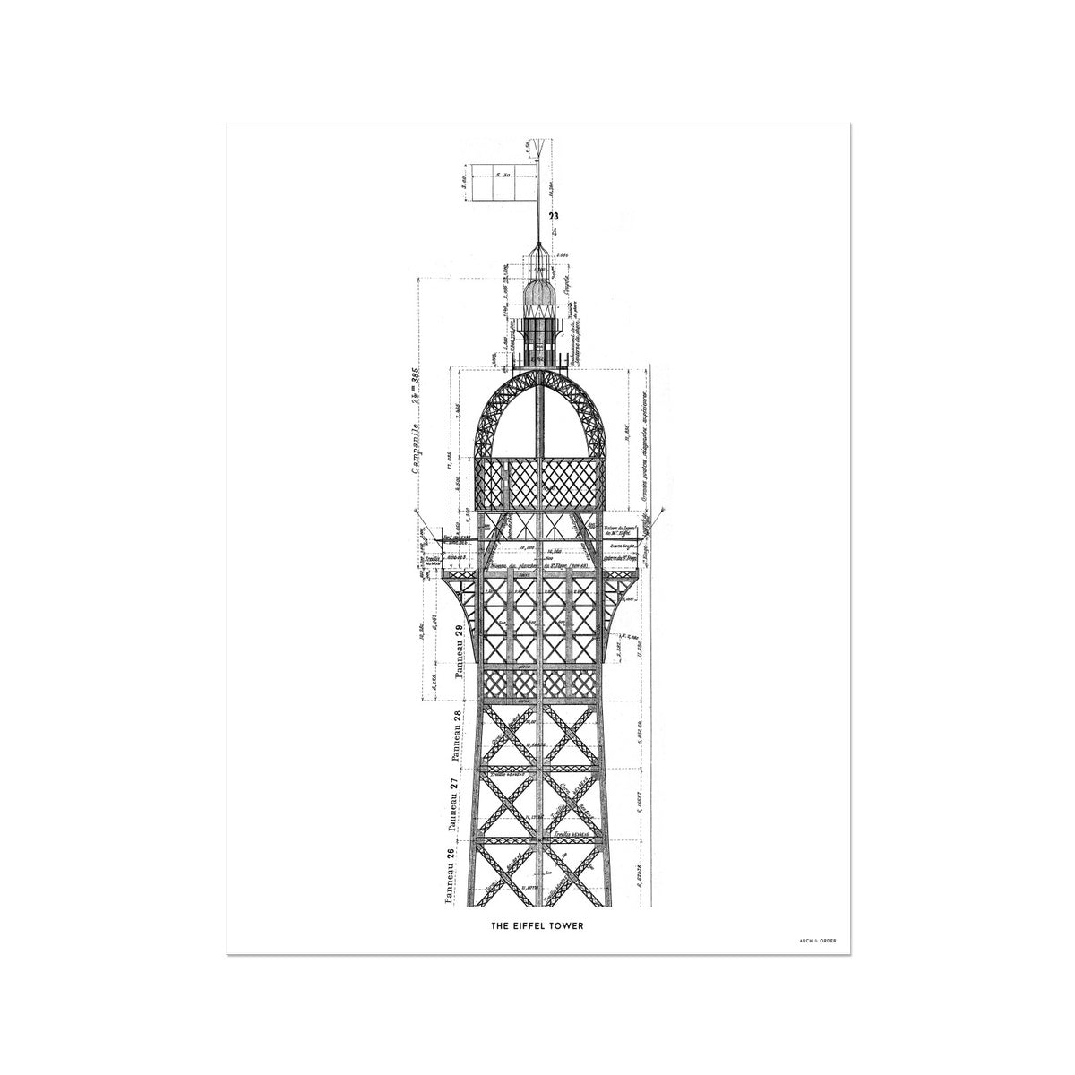 The Eiffel Tower - Top Cross Section - White -  Etching Paper Print