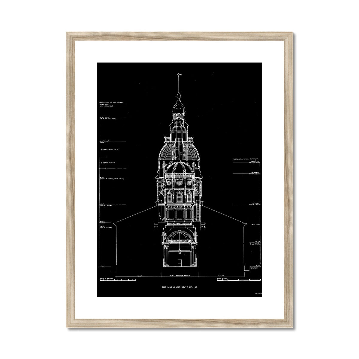 The Maryland State House - Northwest Elevation Cross Section - Black -  Framed & Mounted Print