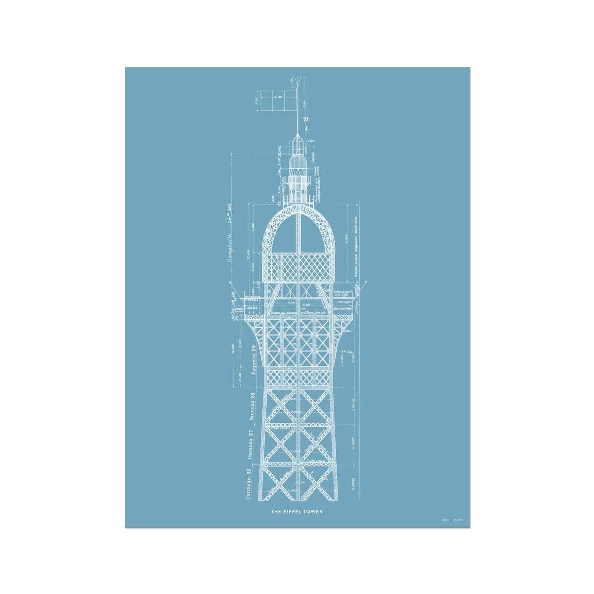 The Eiffel Tower - Top Cross Section - Blue -  Etching Paper Print