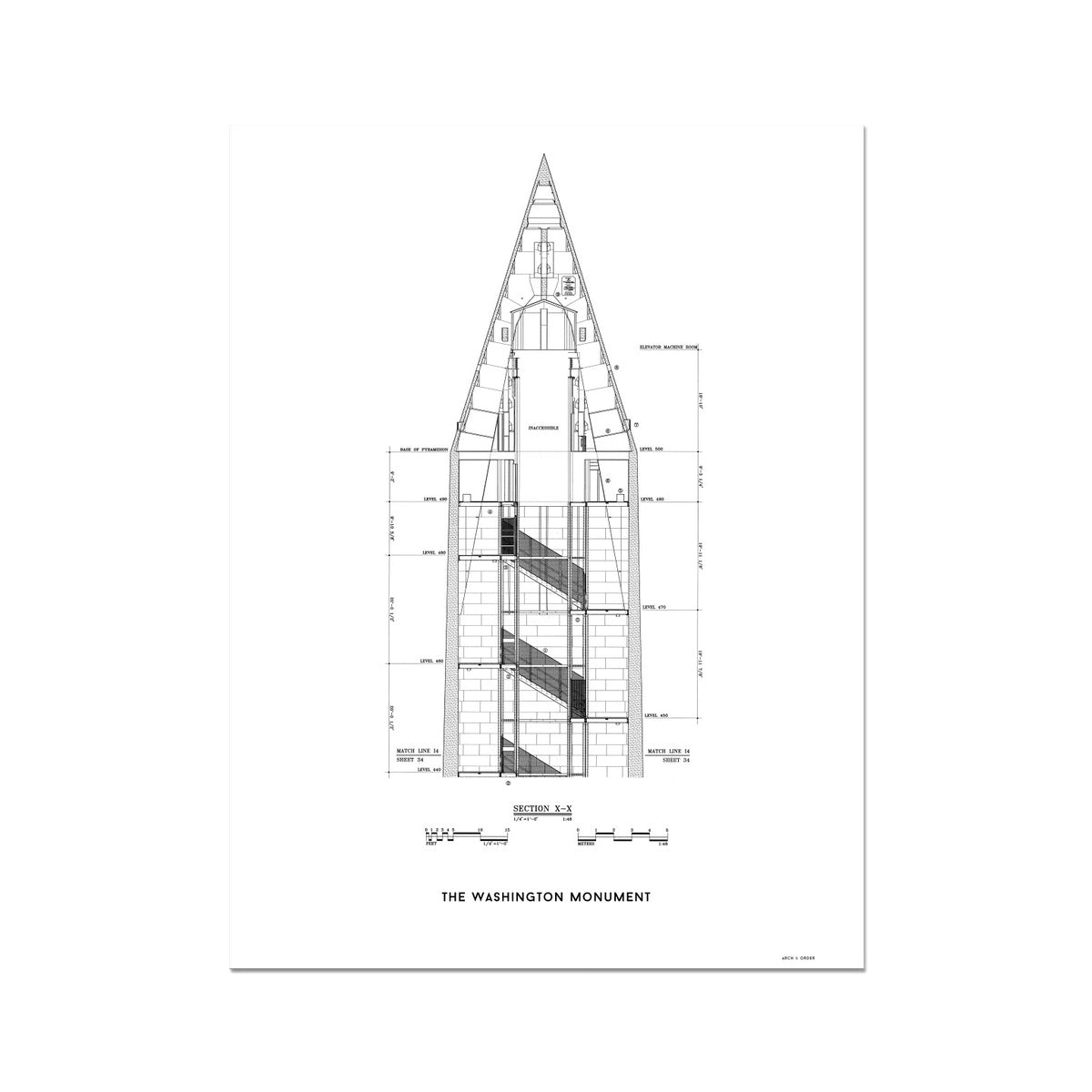 The Washington Monument Top Cross Section - White -  Etching Paper Print